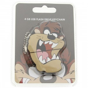 Looney Tunes Taz 4GB Rubber USB Flash Drive Keychain (brown)